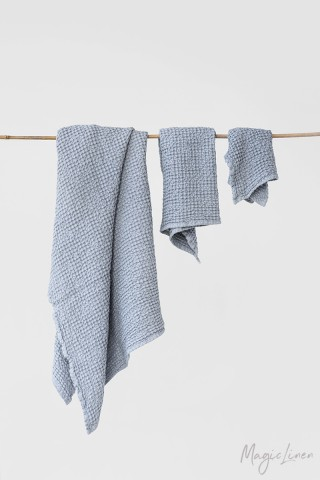 Light gray waffle towel set (3 pcs)