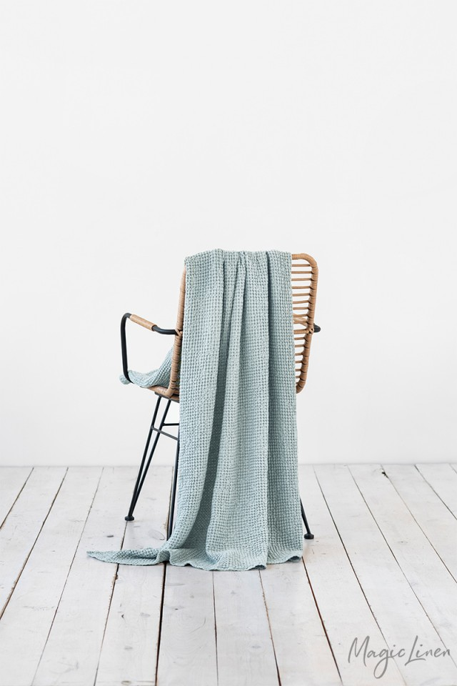 Dusty blue waffle throw