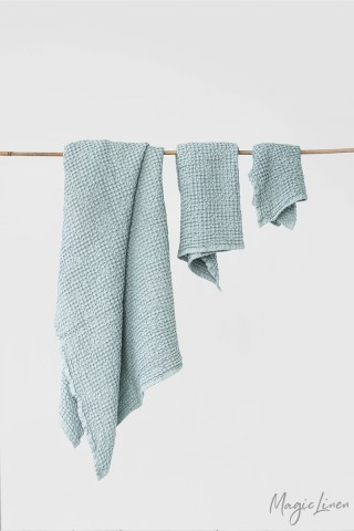 Dusty blue waffle towel set (3 pcs)