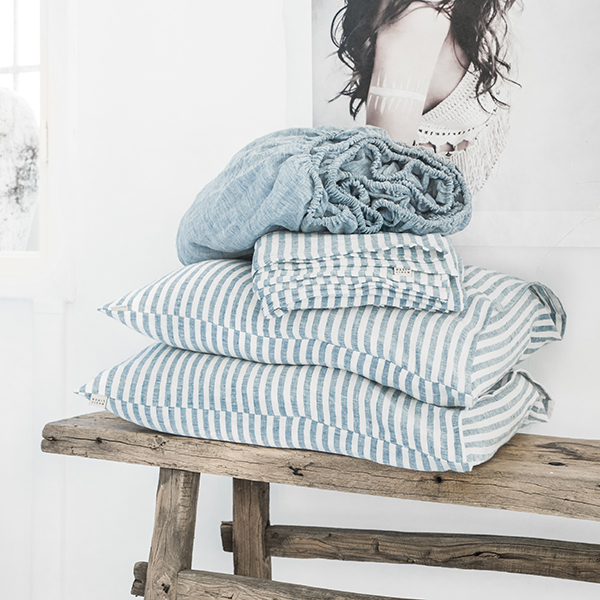 Striped in blue linen bedding