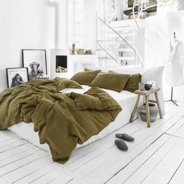 Olive green linen bedding