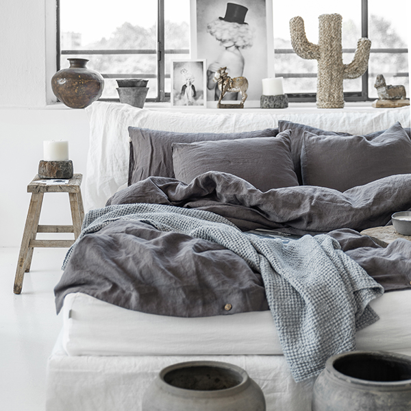 Charcoal gray linen bedding