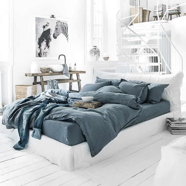 Gray blue linen bedding