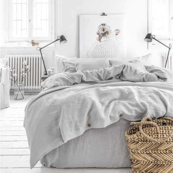Light gray linen bedding