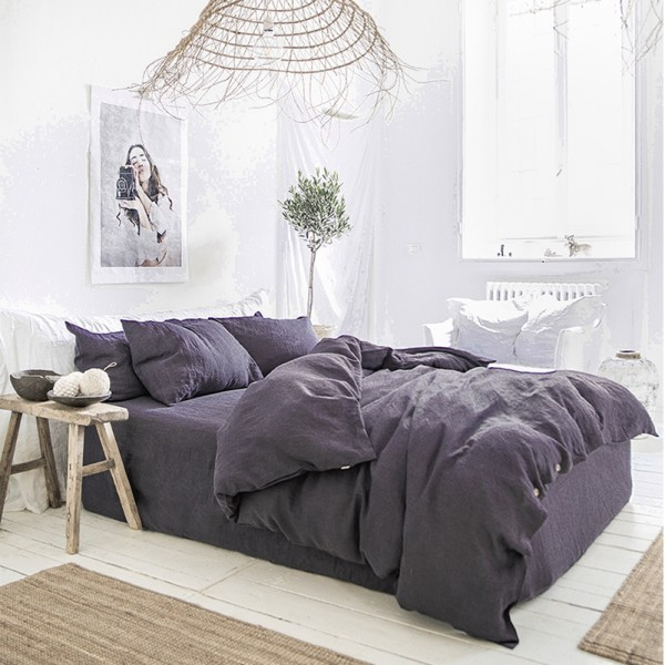 Purple charcoal linen bedding