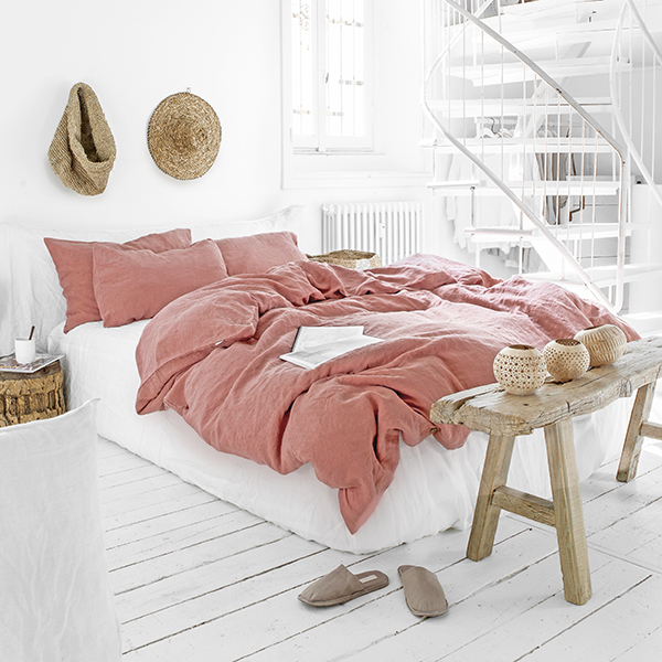Rust pink linen bedding