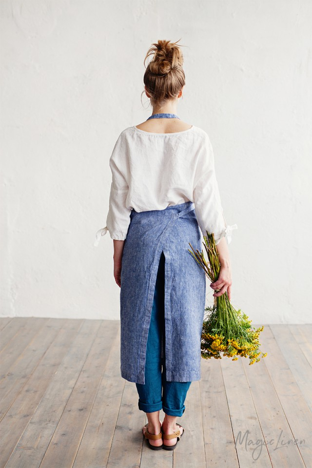 Bib Linen Apron In Denim Magiclinen