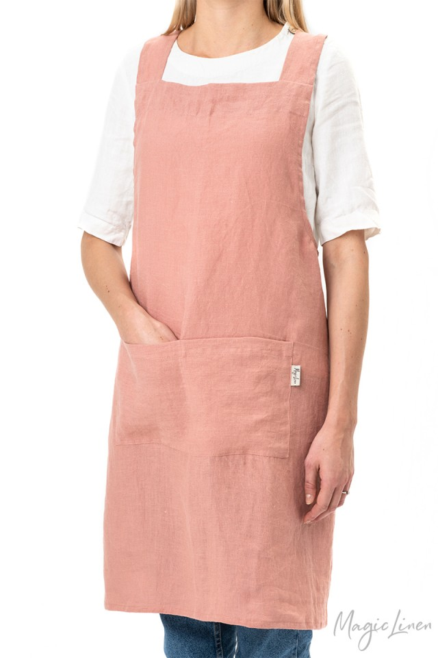 Pinafore cross-back linen apron