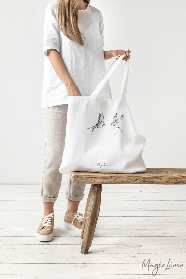 Large linen tote bag with print, black or white