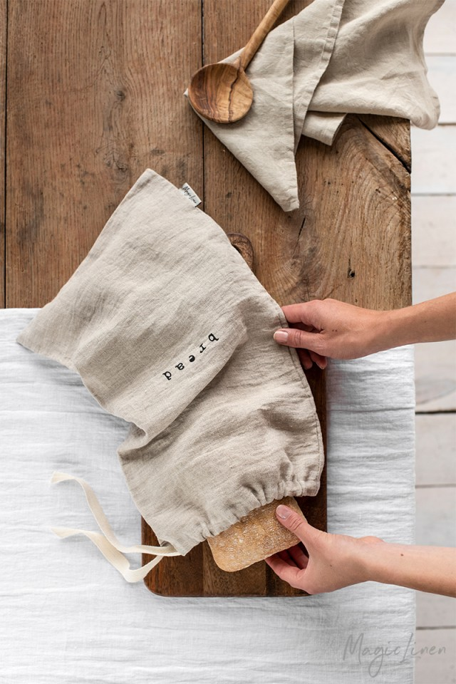 Printed Linen Bread Bag Kitchen Linens Magiclinen
