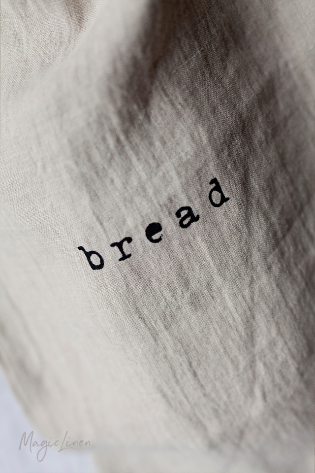Printed linen bread bag
