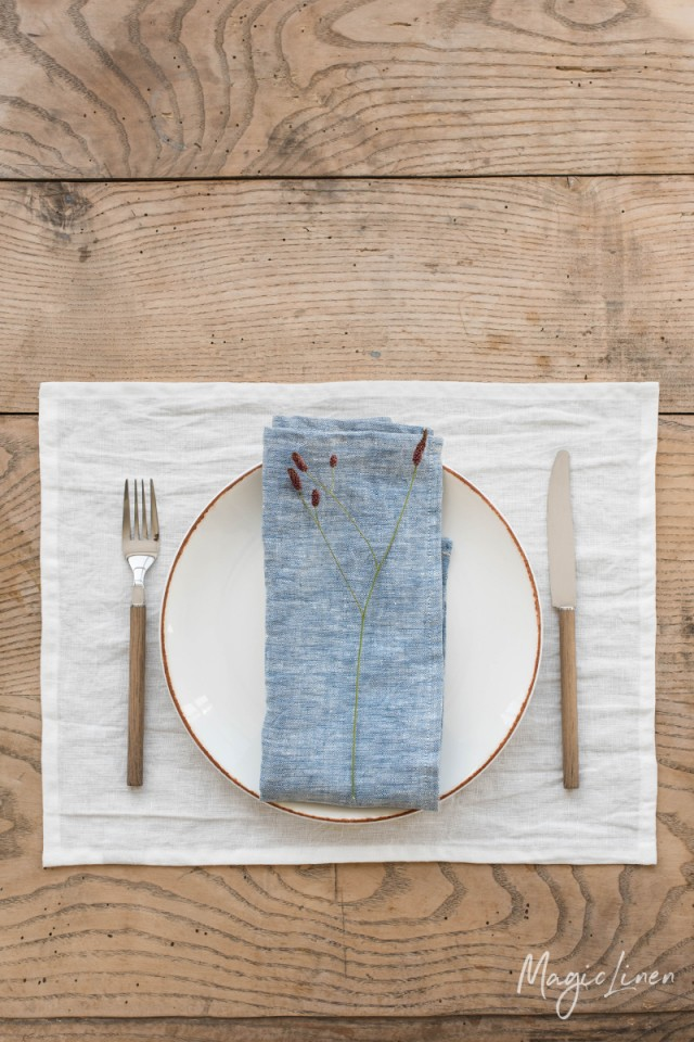 Blue melange linen napkin set of 2