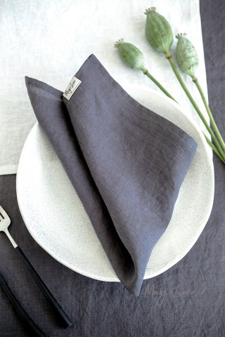Charcoal gray linen napkin set of 2