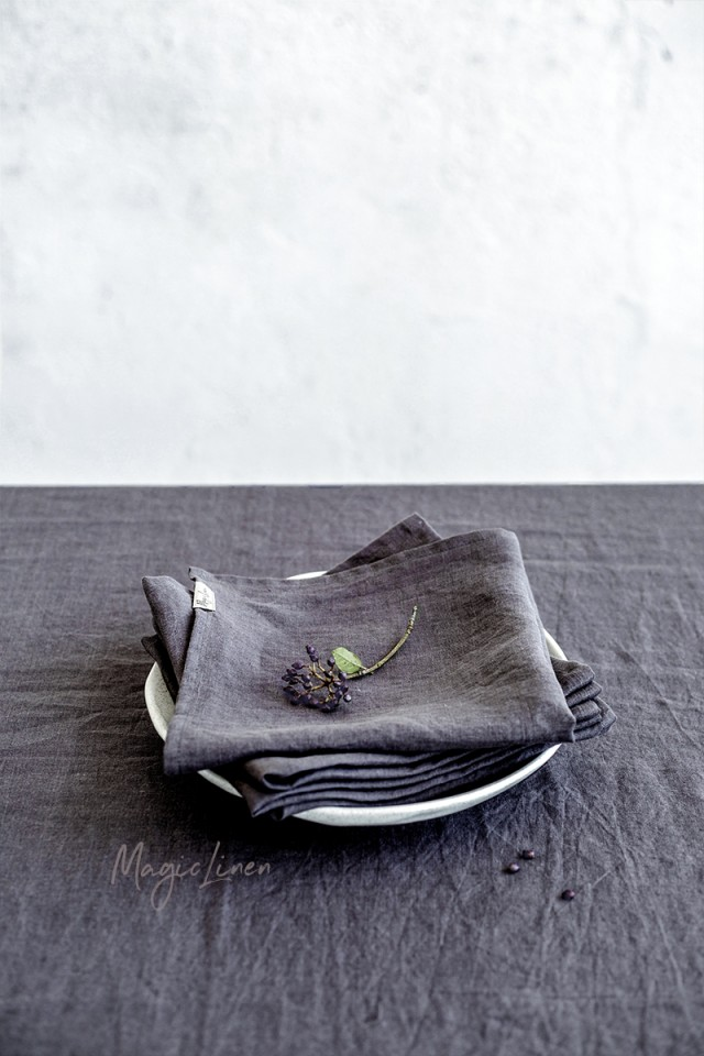 Charcoal gray linen napkin set
