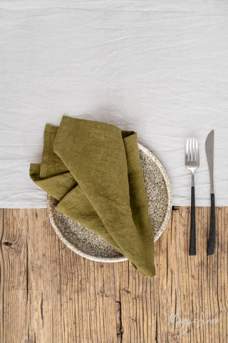 Olive green linen napkin set of 2
