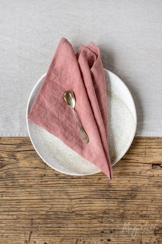 Rust pink linen napkin set of 2