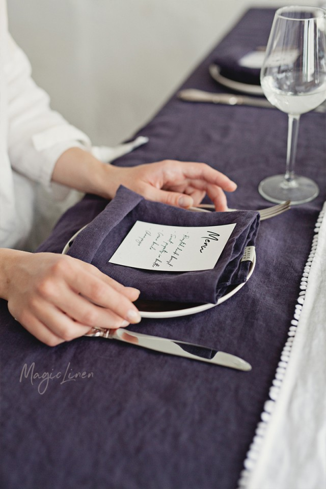 Purple charcoal linen napkin set
