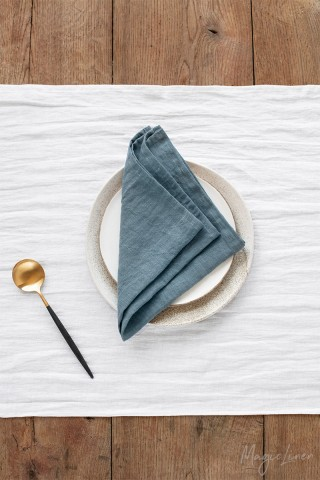 Gray blue linen napkin set