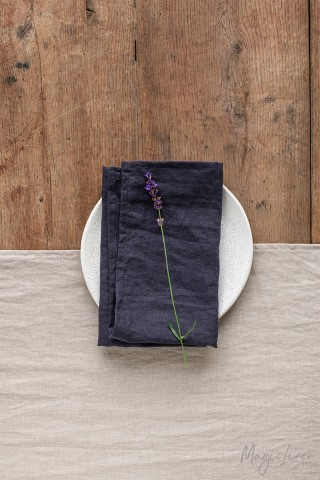 Purple charcoal linen napkin set of 2