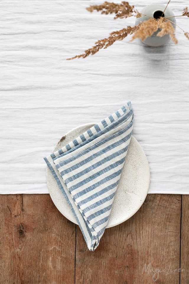 Striped in blue linen napkin set of 2