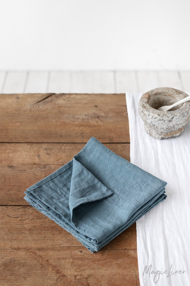 Gray blue linen napkin set of 2