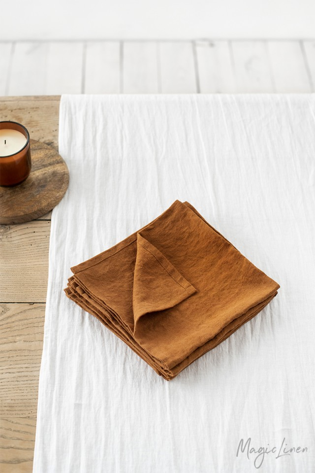 Cinnamon linen napkin set of 2
