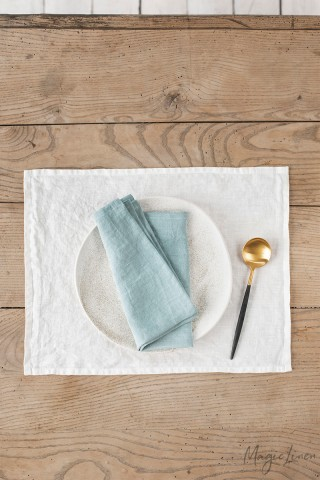 Dusty blue linen napkin set of 2