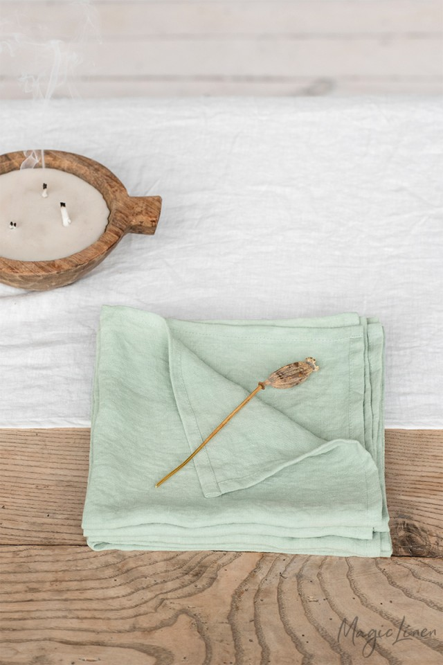 Sage green linen napkin set of 2