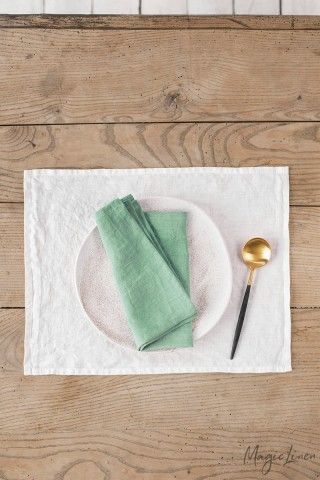 Matcha green linen napkin set of 2
