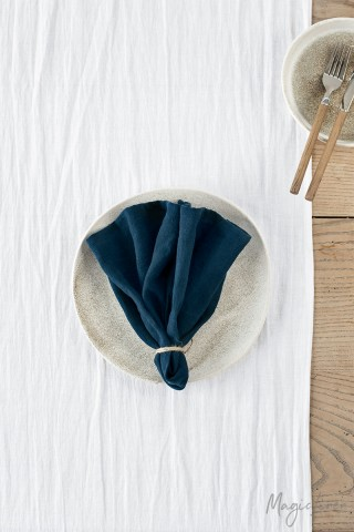 Navy blue linen napkin set of 2
