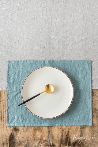 Aquamarine blue linen placemat