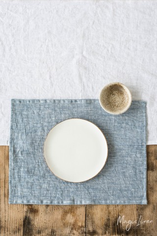 Blue melange linen placemat set of 2