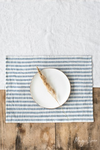 Striped in blue linen placemat