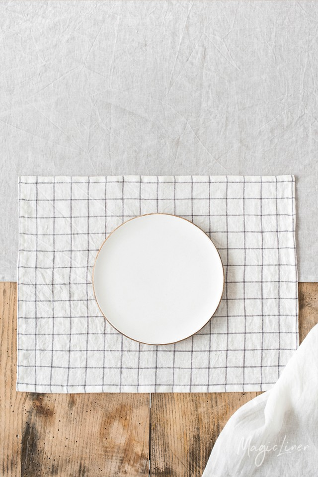Charcoal grid linen placemat set of 2