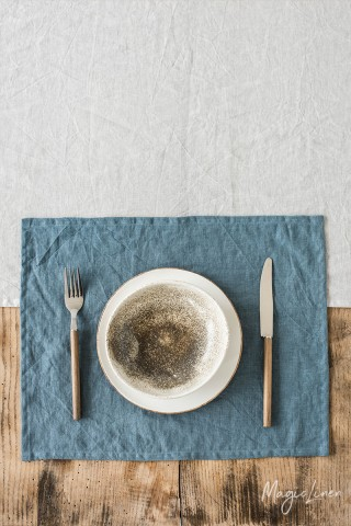 Gray blue linen placemat