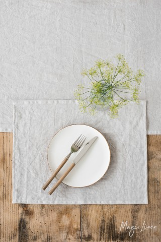 Light gray linen placemat