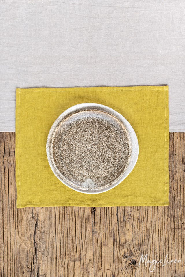 Moss yellow linen placemat set of 2