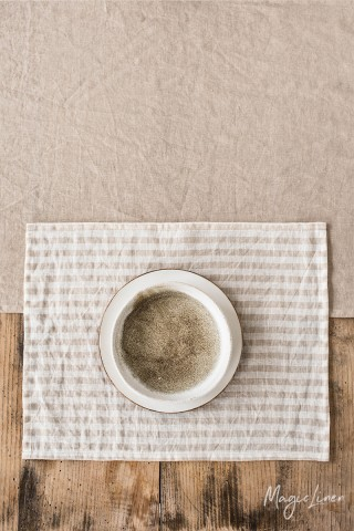 Striped in natural linen placemat
