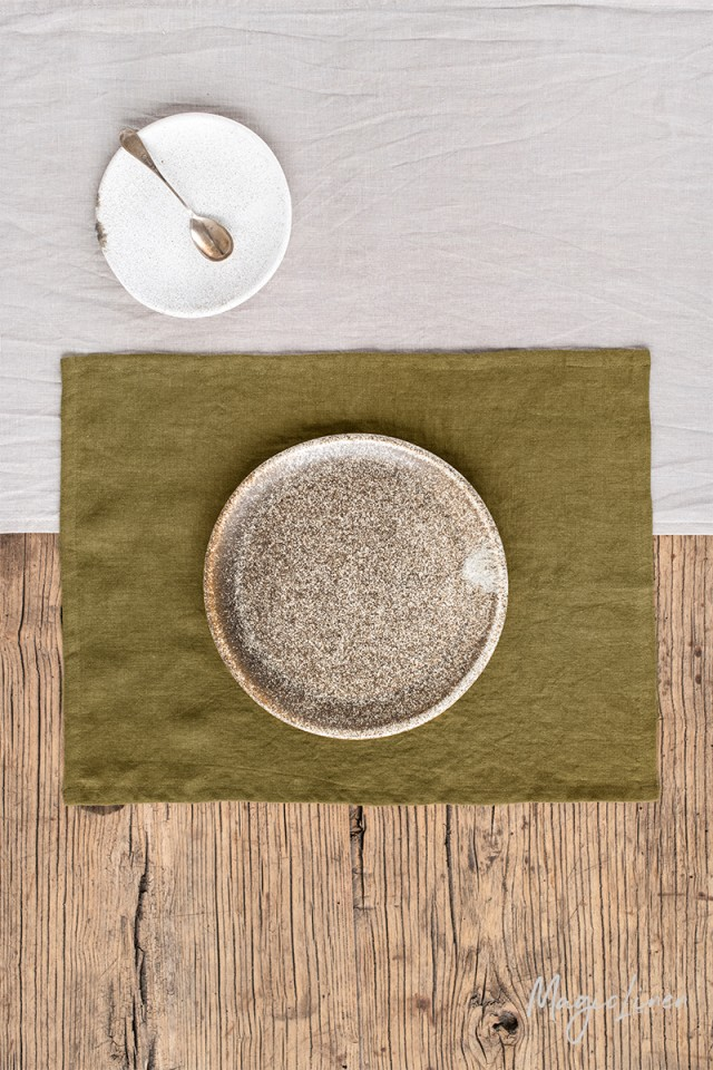 Olive green linen placemat