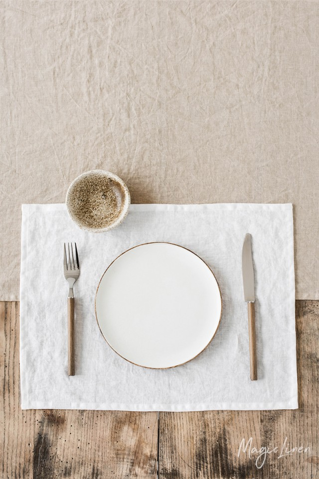 White linen placemat set of 2