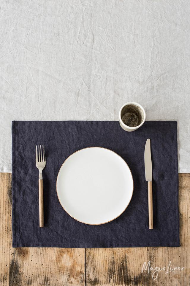Purple charcoal linen placemat