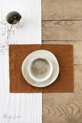 Cinnamon linen placemat set of 2