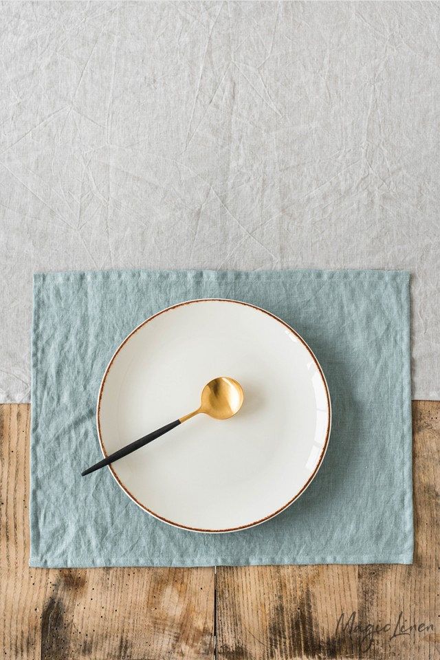 Dusty blue linen placemat set of 2