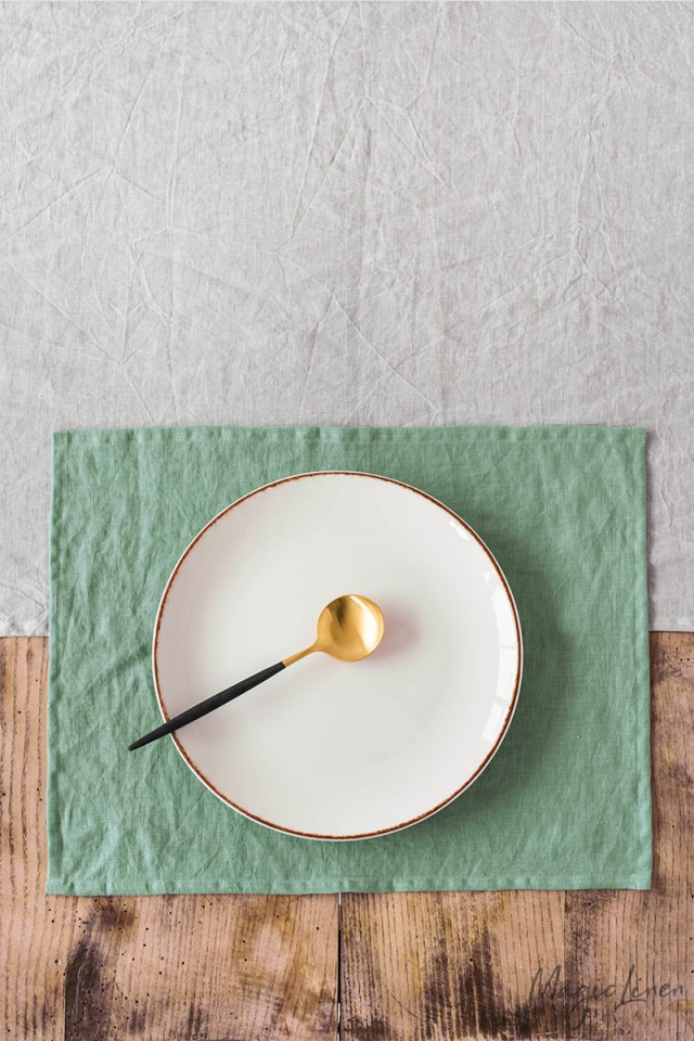Matcha green linen placemat set of 2