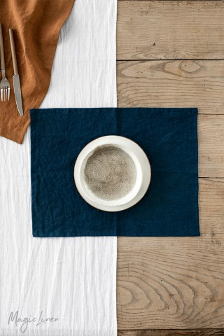 Navy blue linen placemat set of 2