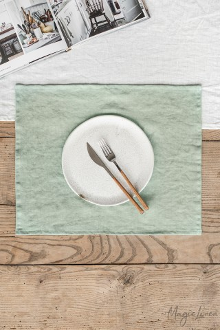 Sage green linen placemat set of 2