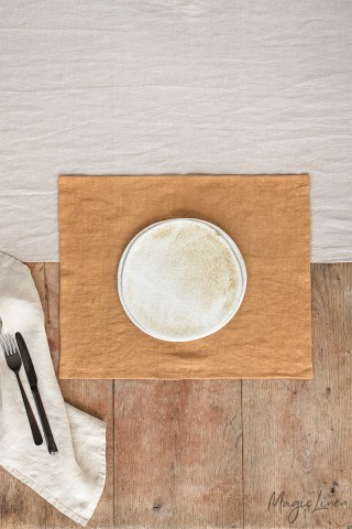 Tan linen placemat set of 2