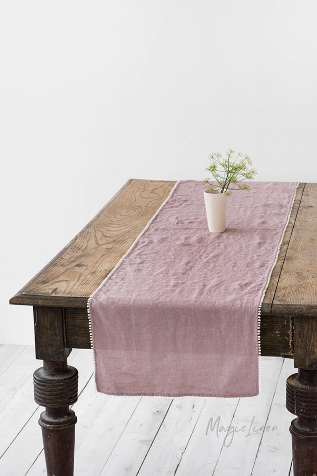 Pom pom trim linen table runner