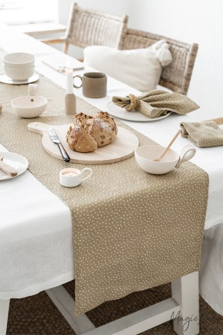 Polka dots linen table runner