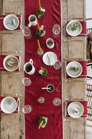 LIMITED EDITION Red Pom Pom Trim Linen Table Runner
